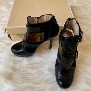 Michael Kors Sophia Black Suede Platform Boots 8